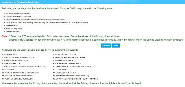 Services On Driving Licence